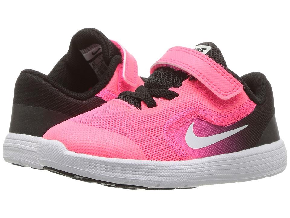 Nike Kids Revolution 3 (Infant/Toddler) (Black/White/Racer Pink/Black) Girls Shoes