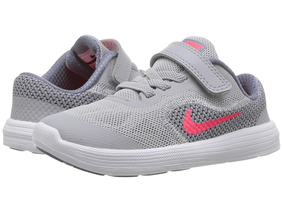Nike Kids Revolution 3 (Infant/Toddler) (Wolf Grey/Solar Red/Dark Sky Blue/White) Girls Shoes