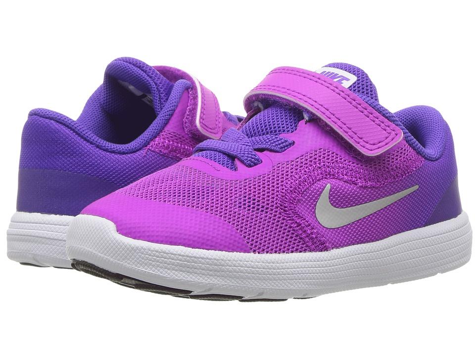 Nike Kids Revolution 3 (Infant/Toddler) (Hyper Violet/Metallic Silver/Hyper Grape) Girls Shoes