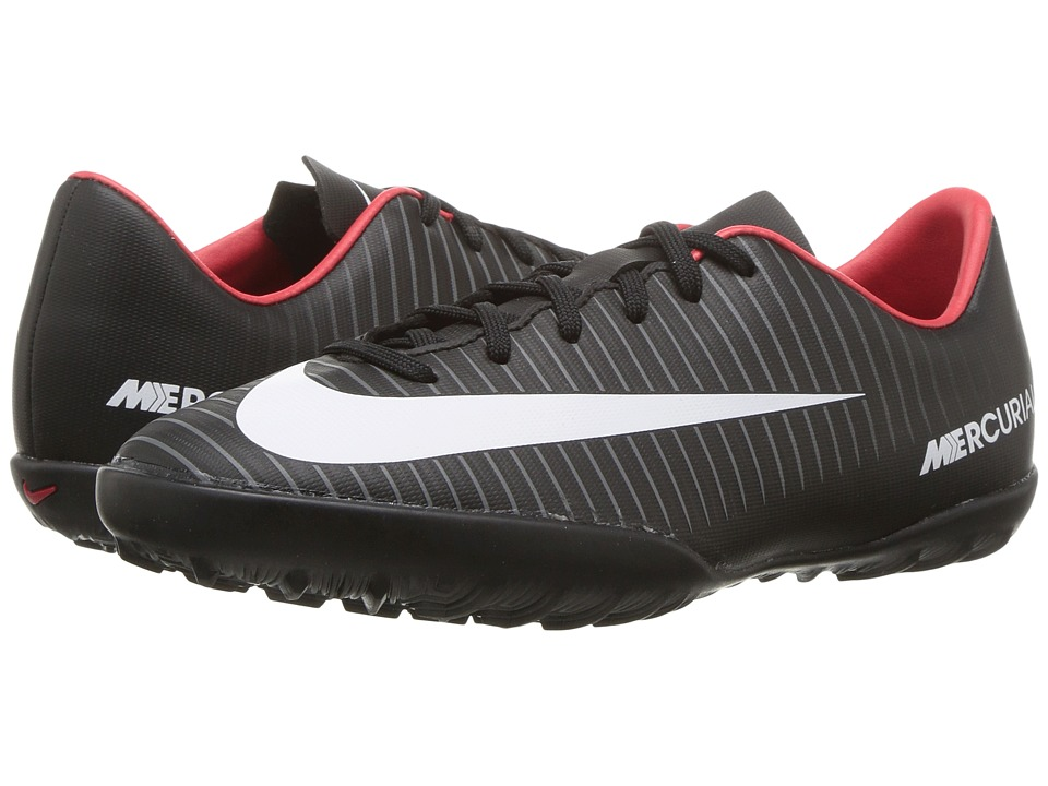 Nike Kids JR Mercurial Vapor XI TF Soccer (Toddler/Little Kid/Big Kid) (Black/White/Dark Grey/University Red) Kids Shoes