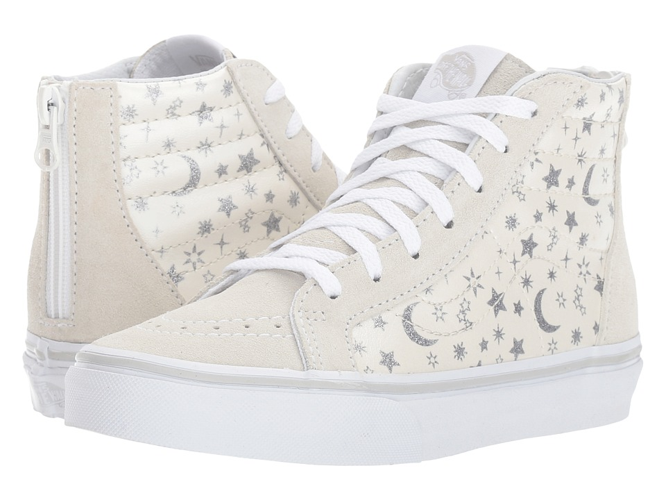Vans Kids Sk8-Hi Zip (Little Kid/Big Kid) ((Star Glitter) White) Girls Shoes
