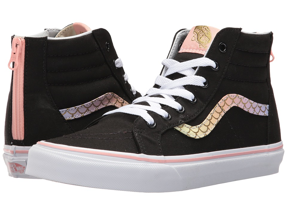 Vans Kids Sk8-Hi Zip (Little Kid/Big Kid) ((Mermaid) Rainbow/Gold) Girls Shoes