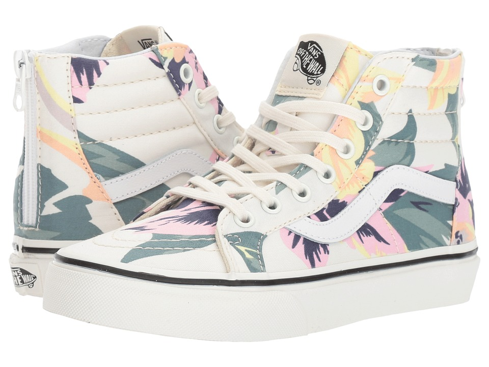 Vans Kids Sk8-Hi Zip (Little Kid/Big Kid) ((Vintage Floral) Marshmallow) Girls Shoes