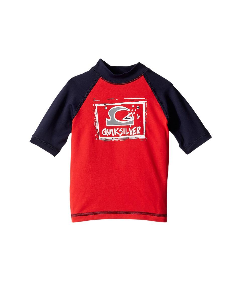 Quiksilver Kids Bubble Dream Short Sleeve Rashguard (Toddler/Little Kids) (Quik Red/Navy Blazer) Boy