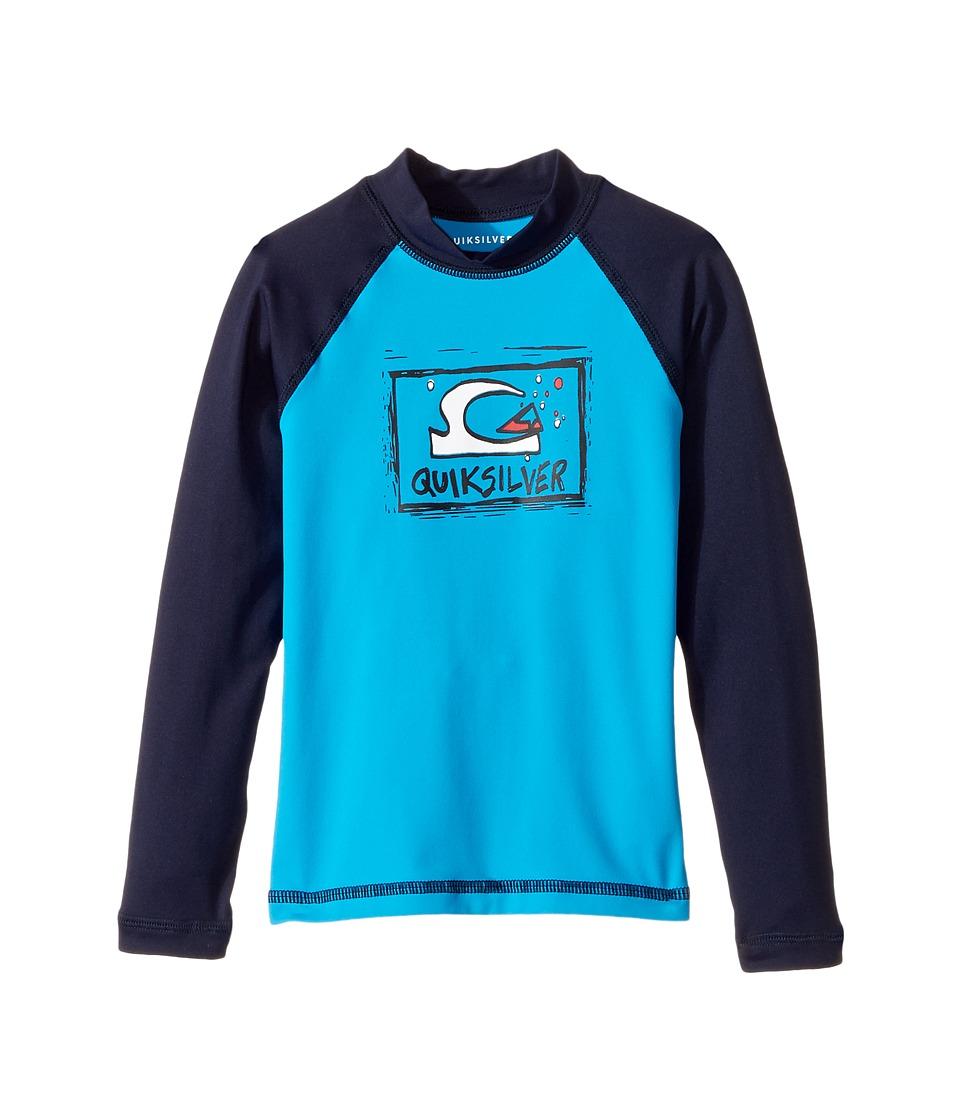 Quiksilver Kids Bubble Dream Long Sleeve Rashguard (Toddler/Little Kids) (Blue Danube/Navy Blazer) Boy