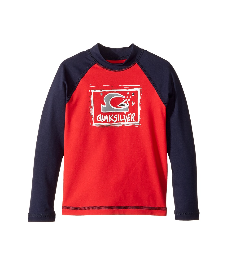 Quiksilver Kids Bubble Dream Long Sleeve Rashguard (Toddler/Little Kids) (Quik Red/Navy Blazer) Boy