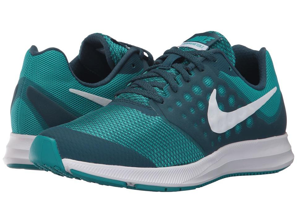 Nike Kids Downshifter 7 (Big Kid) (Space Blue/White/Turbo Green) Girls Shoes