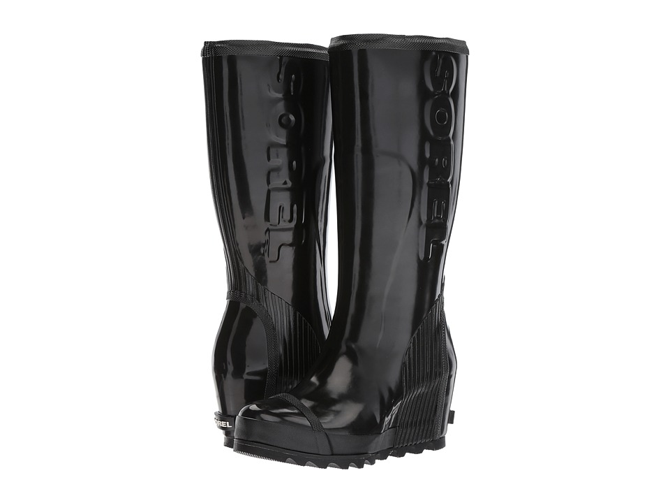 SOREL - Joan Rain Wedge Tall Gloss (Black/Sea Salt) Womens Waterproof Boots