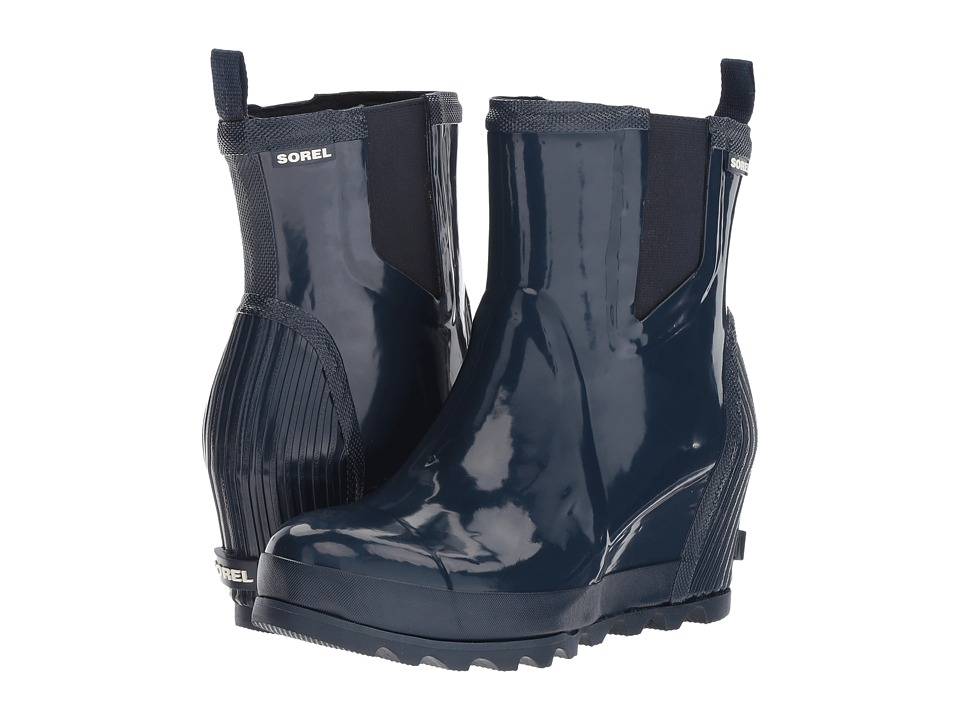 SOREL - Joan Rain Wedge Chelsea Gloss (Collegiate Navy/ Atmosphere) Womens Waterproof Boots