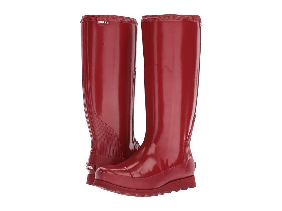 SOREL Joan Rain Tall Gloss (Red Dahlia/Candy Apple) Women's Waterproof Boots