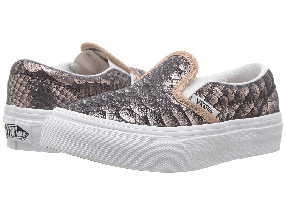 Vans Kids Classic Slip-On (Little Kid/Big Kid) ((Metallic Snake) Rose Gold/True White) Girls Shoes