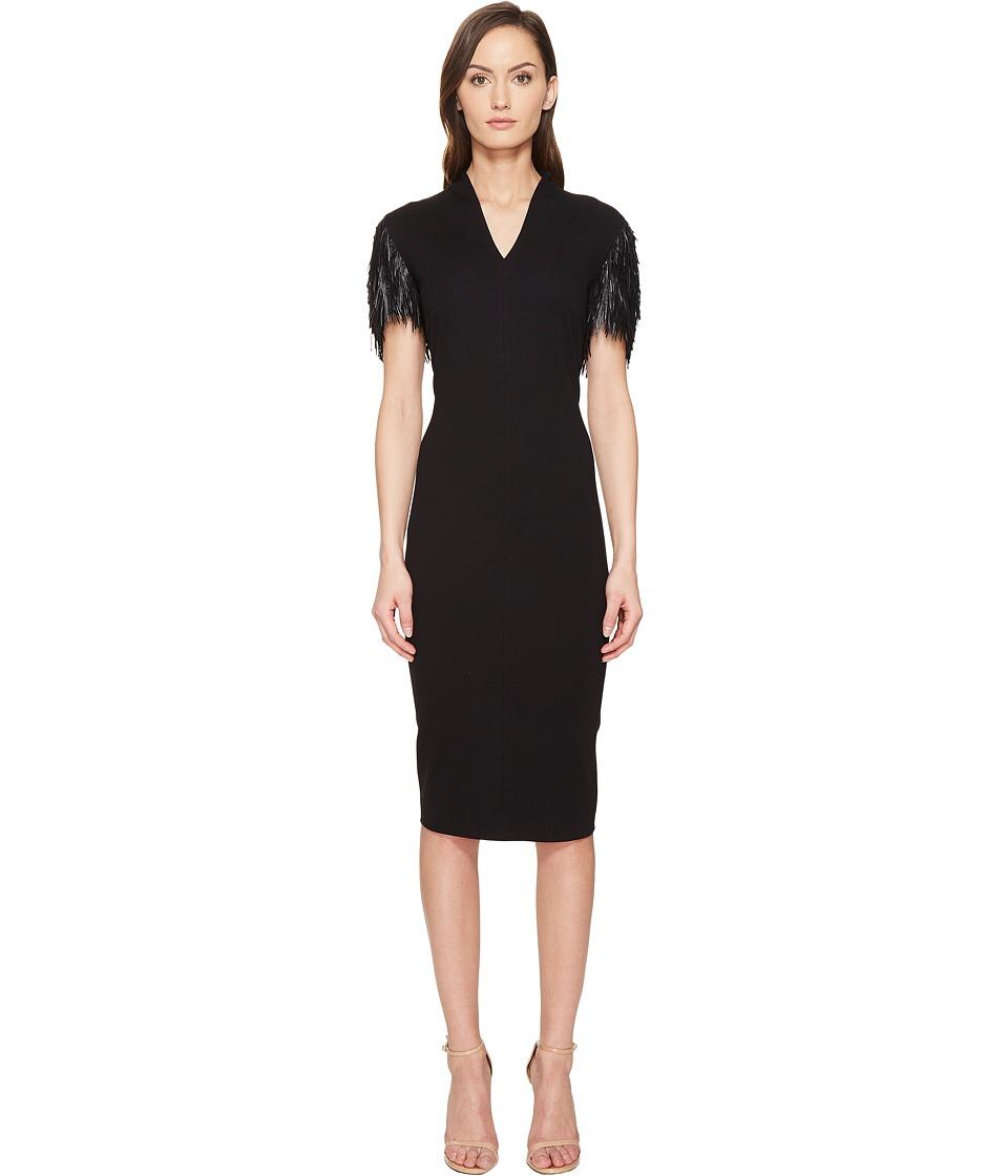 ESCADA - Delecto Feathered Short Sleeve Dress