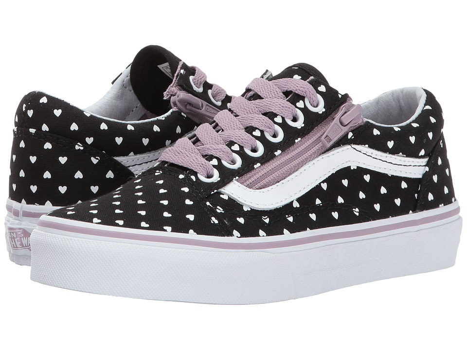 Vans Kids Old Skool (Little Kid/Big Kid) ((Micro Heart) Black/Sea Fog) Girls Shoes