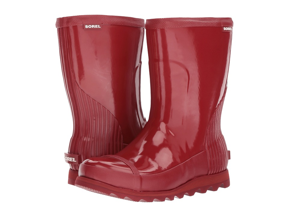 SOREL Joan Rain Short Gloss (Red Dahlia/Candy Apple) Women's Waterproof Boots