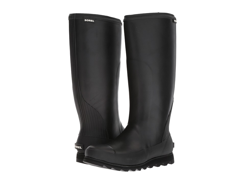 SOREL - Joan Rain Tall (Black/Sea Salt) Womens Waterproof Boots