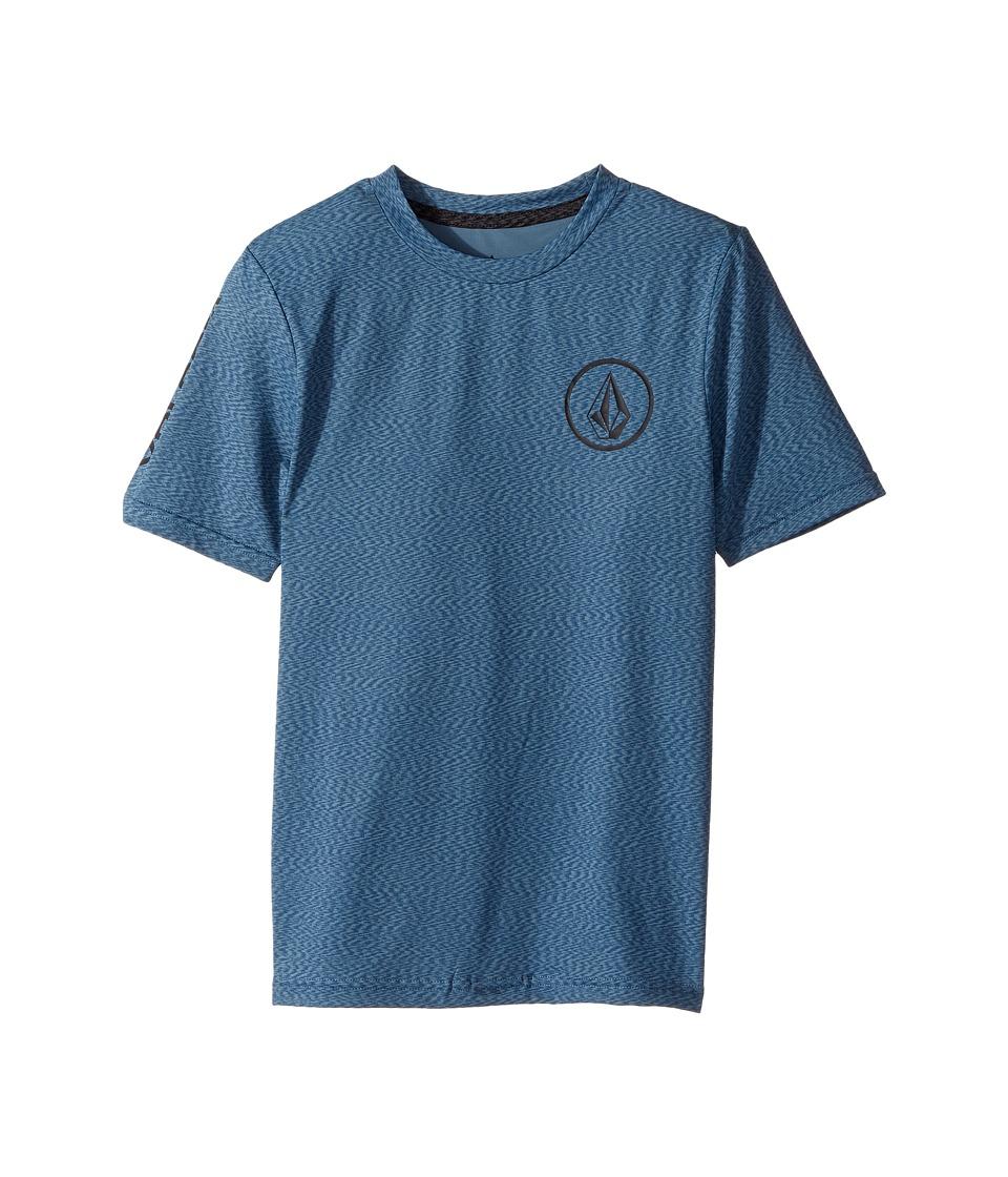 Volcom Kids Distortion Short Sleeve Thrashguard (Big Kids) (Blue Smoke) Boy