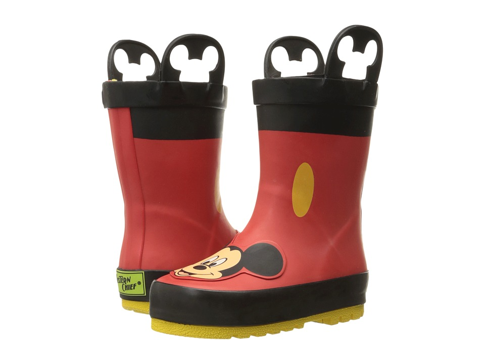 Western Chief Kids Mickey Mouse Rain Boots (Toddler/Little Kid/Big Kid) (Red) Boys Shoes