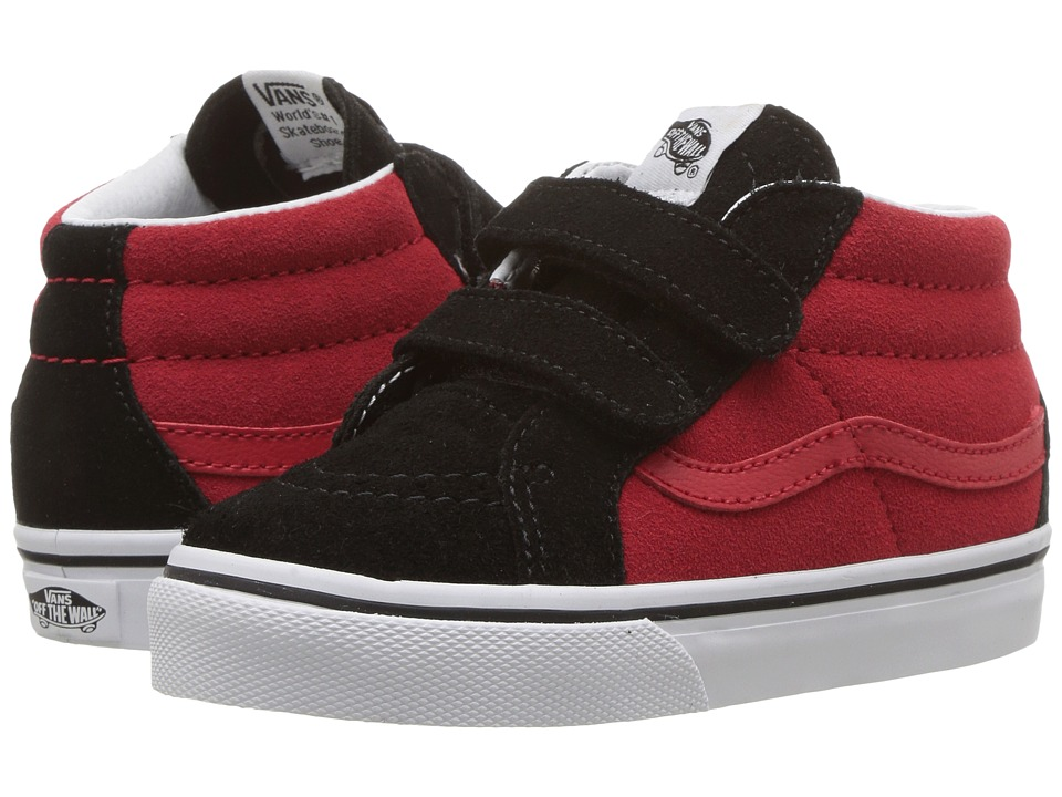 Vans Kids Sk8-Mid Reissue V (Toddler) ((Two-Tone) Black/Racing Red) Boys Shoes