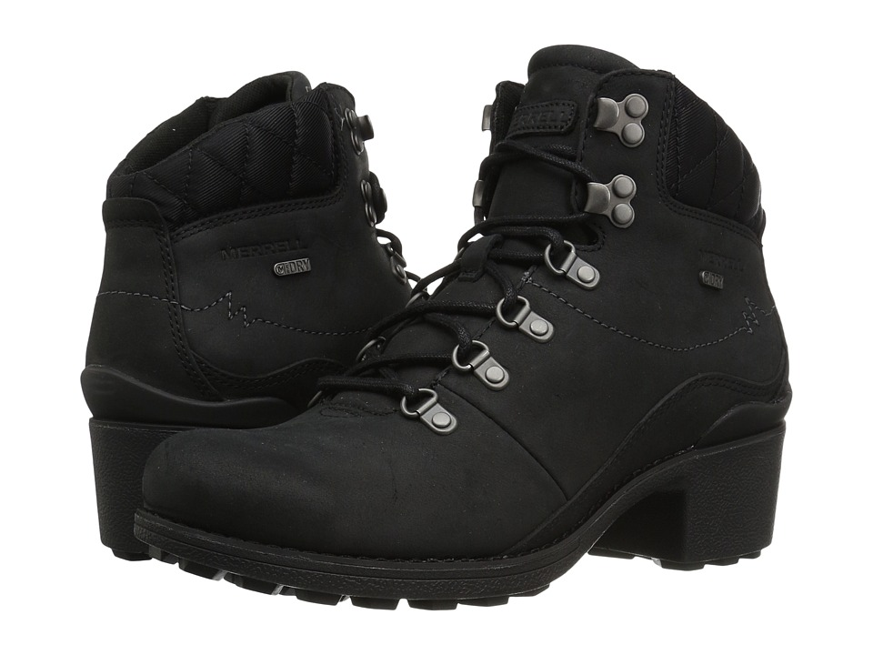 Merrell Chateau Mid Lace Waterproof (Black) Women's Waterproof Boots