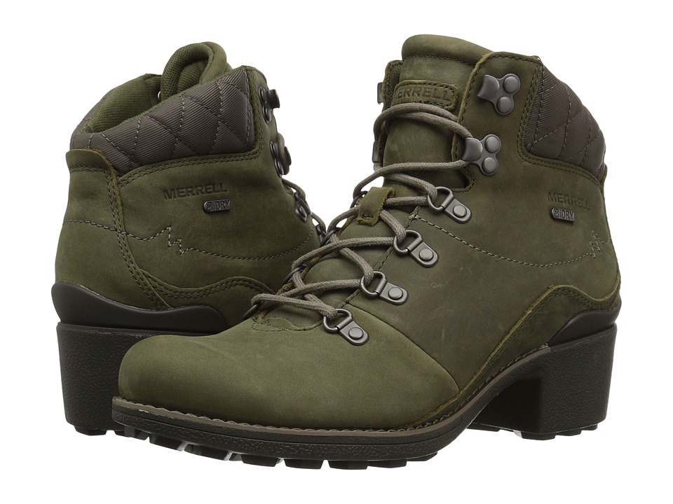 Merrell Chateau Mid Lace Waterproof (Dusty Olive) Women's Waterproof Boots
