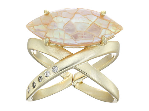 Kendra Scott Rosemary Ring - Gold/Crackle Brown Mother Of Pearl/White CZ
