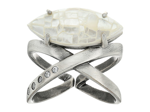 Kendra Scott Rosemary Ring - Antique Silver/Crackle Ivory Mother Of Pearl/White CZ