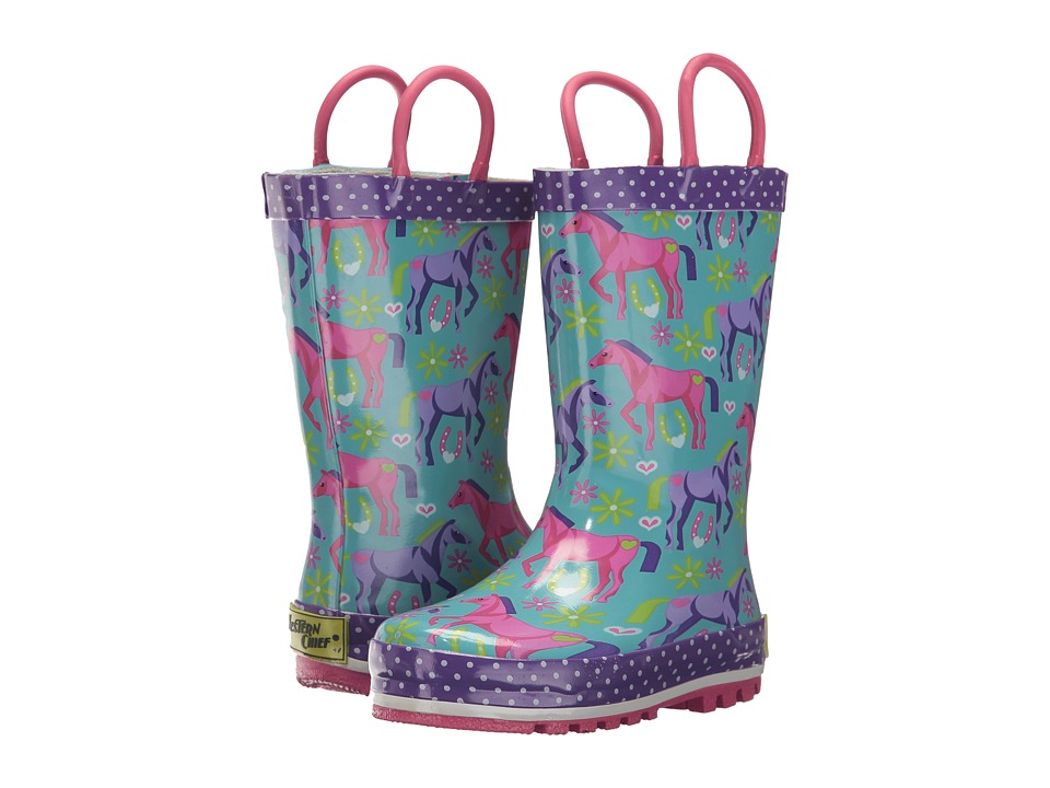 Western Chief Kids Hannah Horse Rain Boots (Toddler/Little Kid/Big Kid) (Teal) Girls Shoes
