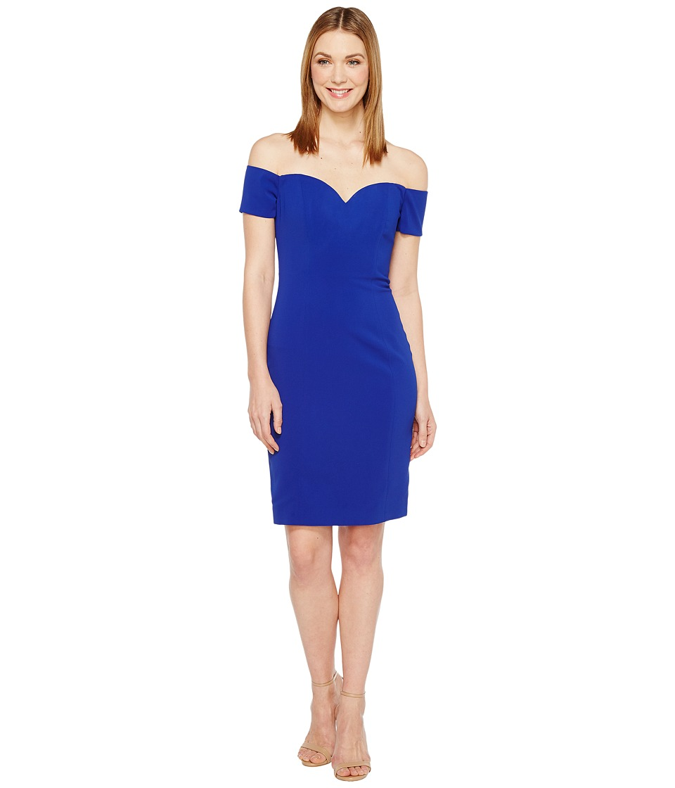 Badgley Mischka Off the Shoulder Cocktail Dress in Stretch Crepe (Electric Blue) Women
