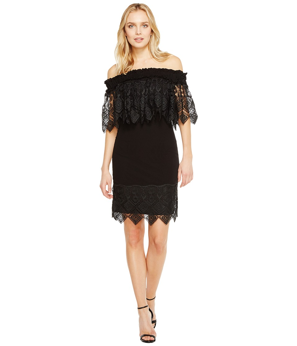 Badgley Mischka - Off the Shoulder Silk Dress Trimmed in Lace