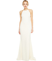 Badgley Mischka - Racerback Stretch Crepe Halter Gown