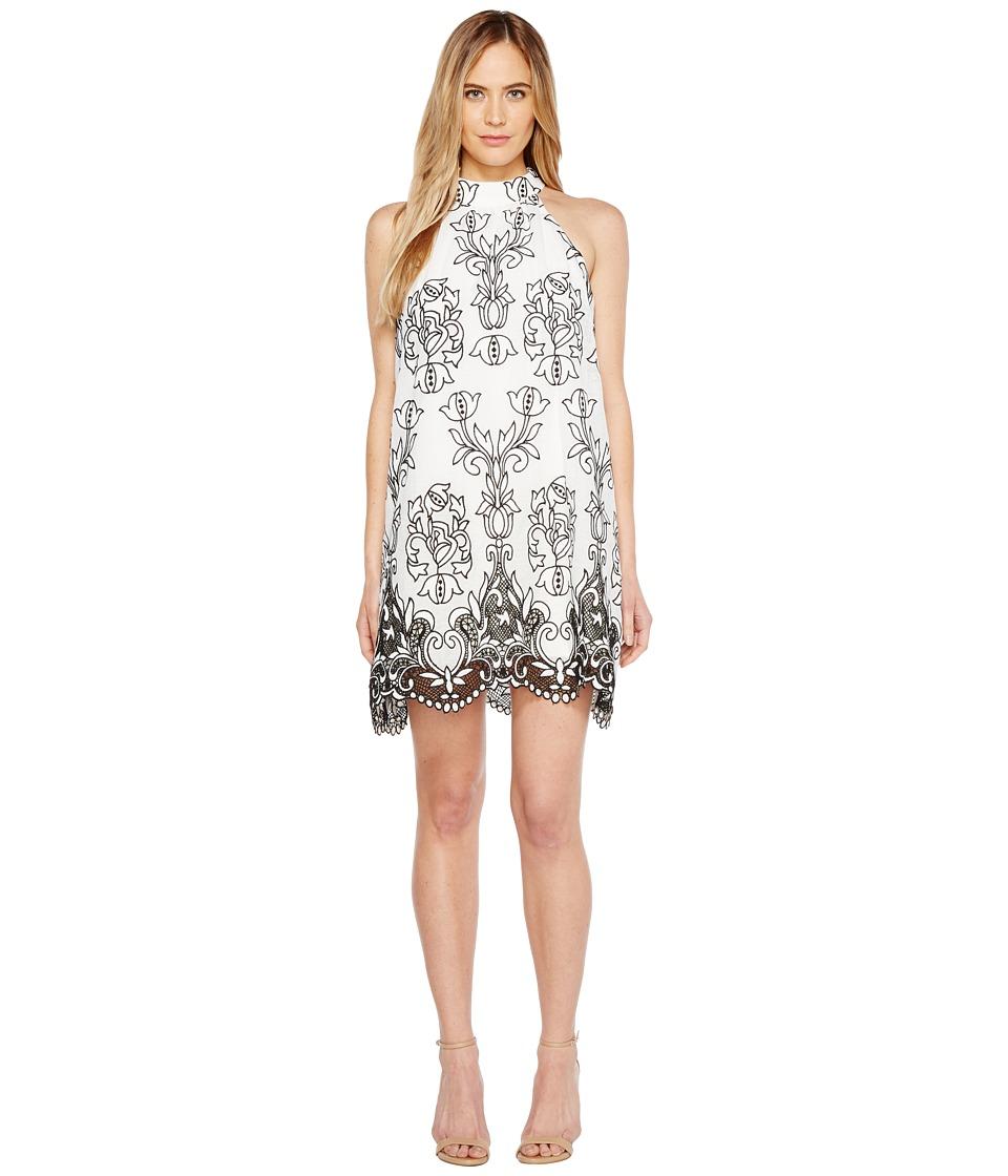 Badgley Mischka - Embroidered Linen Trapeze Dress
