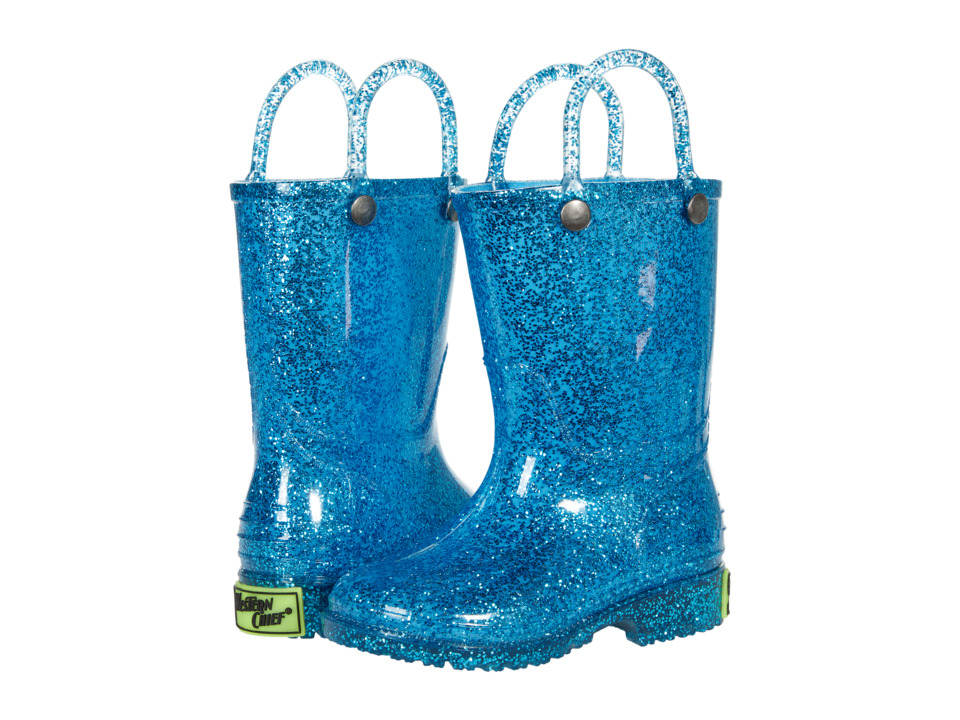 Western Chief Kids Glitter Rain Boots (Toddler/Little Kid) (Turquoise) Girls Shoes