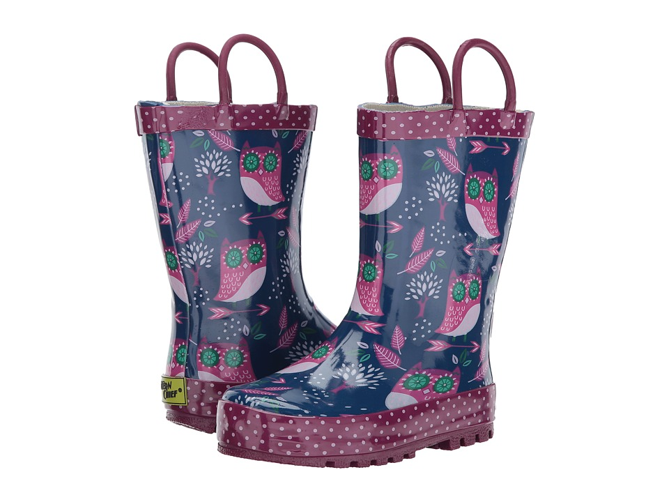 Western Chief Kids Owl Dream Rain Boots (Toddler/Little Kid) (Navy) Girls Shoes