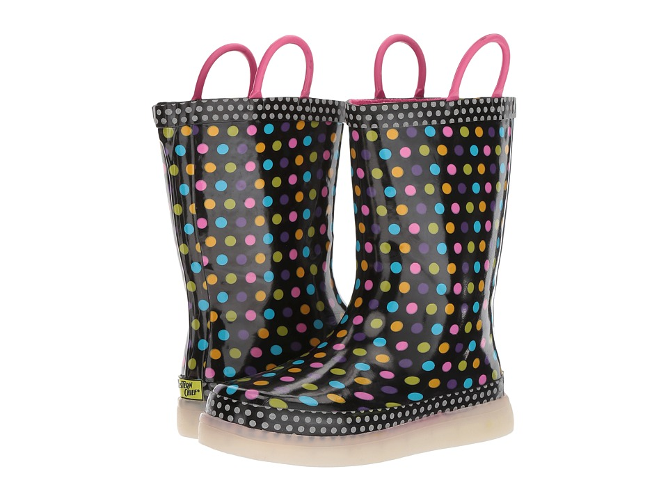 Western Chief Kids Diva Dot LED Rain Boots (Toddler/Little Kid/Big Kid) (Multi) Girls Shoes