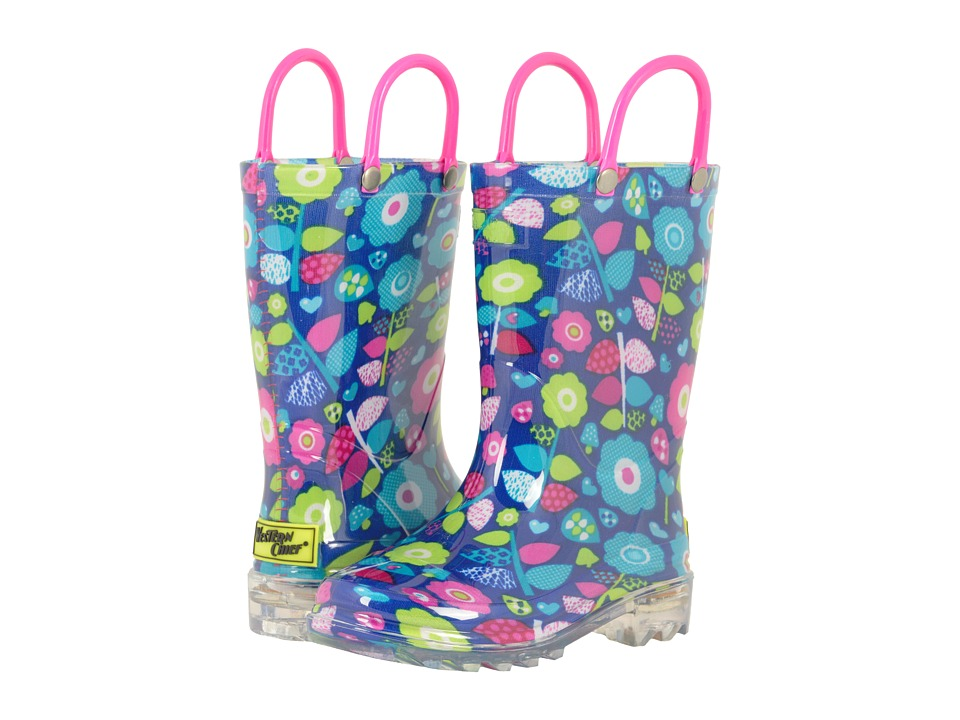 Western Chief Kids Pop Flower Lighted Rain Boots (Toddler/Little Kid) (Navy) Girls Shoes