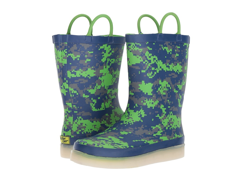 Western Chief Kids Digital Camo LED Rain Boots (Toddler/Little Kid/Big Kid) (Navy) Boys Shoes