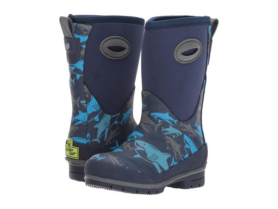Western Chief Kids Shark Attack Neoprene Boots (Toddler/Little Kid/Big Kid) (Blue) Boy's Shoes