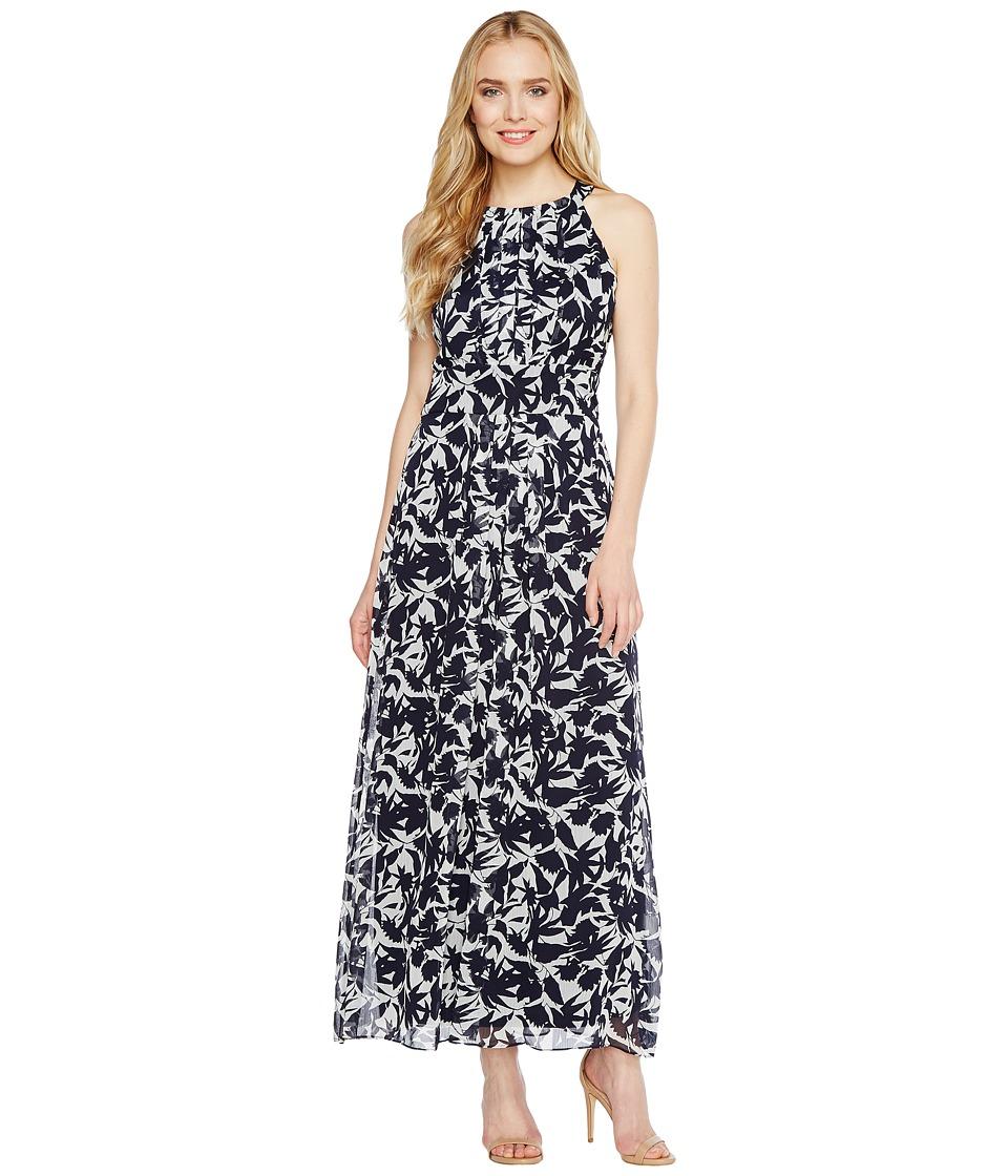 Christin Michaels Brooke Printed Midi Dress (White/Navy) Women