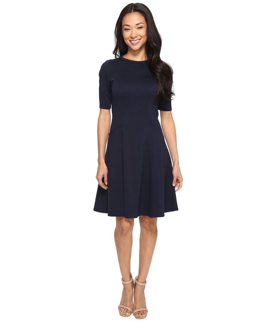 Christin Michaels Ella Short Sleeve Ponte Dress (Navy) Women