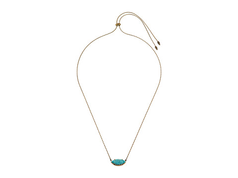 Kendra Scott Meghan Necklace - Antique Brass/Variegated Turquoise Magnesite/White CZ