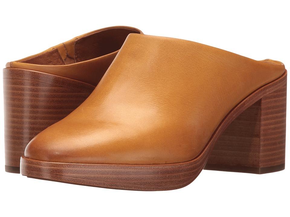Frye Joan Campus Mule (Mustard Smooth Antique Pull Up) High Heels