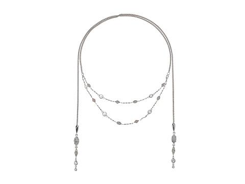 Kendra Scott Emelina Lariat Necklace - Rhodium/Howlite Zellige/White CZ