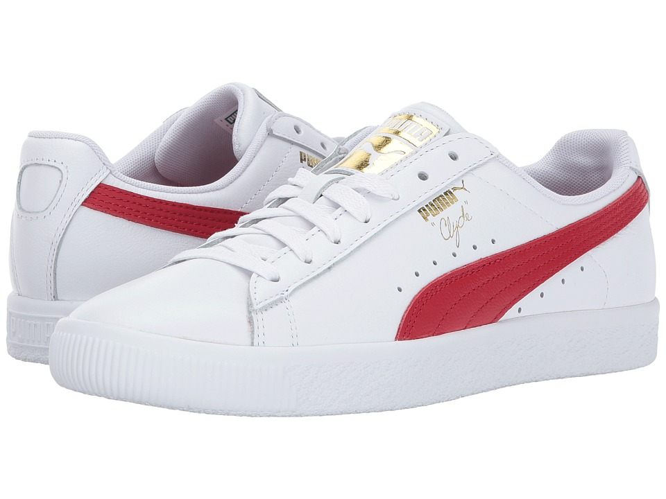 PUMA Clyde Core L Foil (Puma White/Barbados Cherry/Puma Team Gold) Women