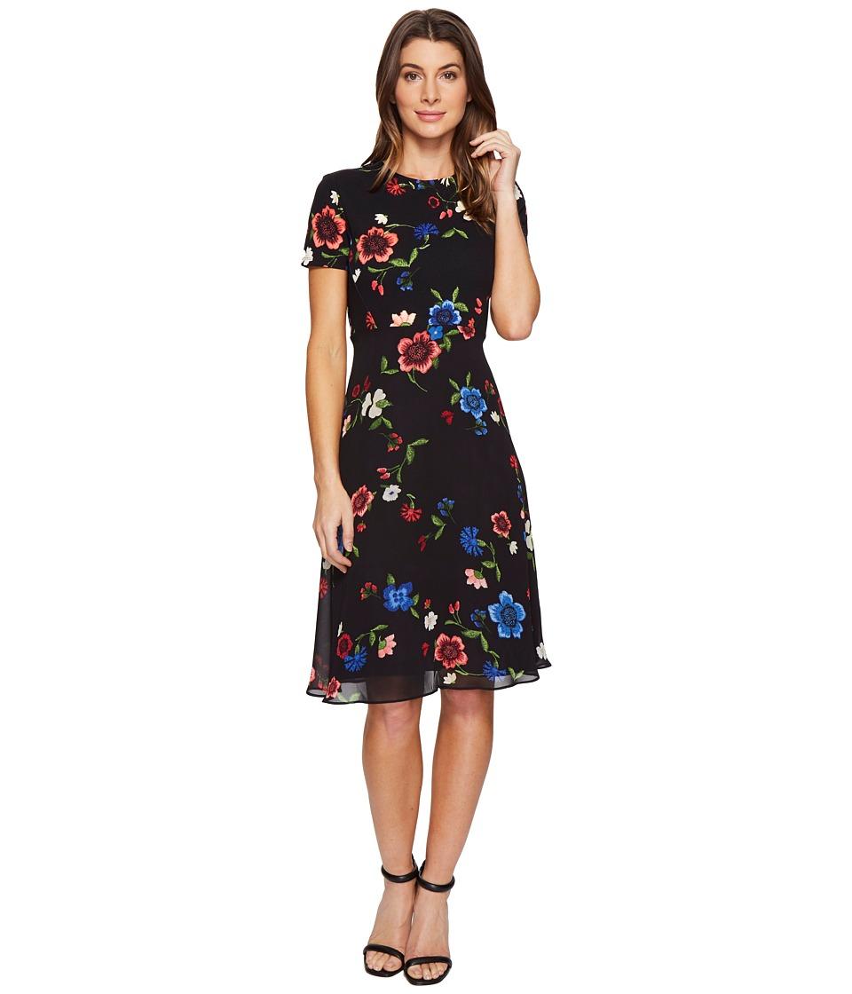 Ellen Tracy Mixed Media Soft Dress (Garden Black Combo) Women