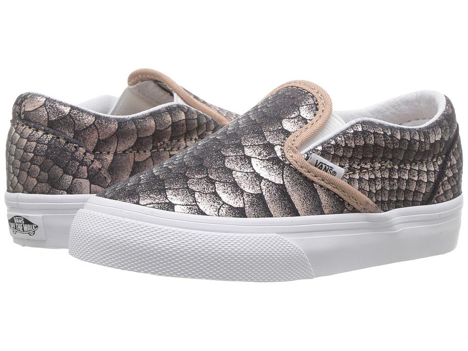 Vans Kids Classic Slip-On (Toddler) ((Metallic Snake) Rose Gold/True White) Girls Shoes