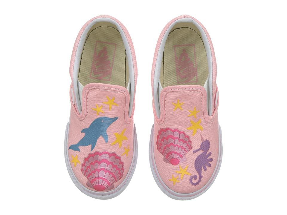 Vans Kids Classic Slip-On (Toddler) ((Mermaid) Pink/Metallic) Girls Shoes
