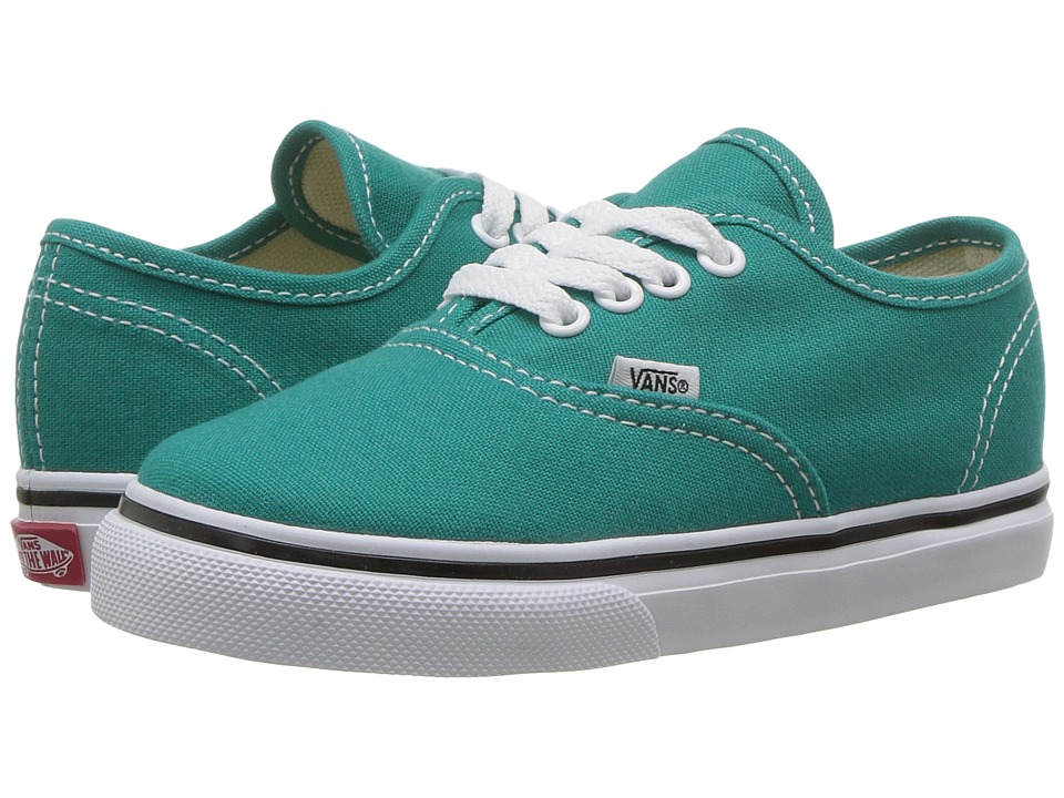 Vans Kids Authentic (Toddler) (Teal Blue/True White) Girls Shoes