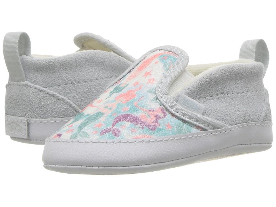 Vans Kids Slip-On V Crib (Infant/Toddler) ((Mermaid) Ice Flow/Glitter) Girls Shoes
