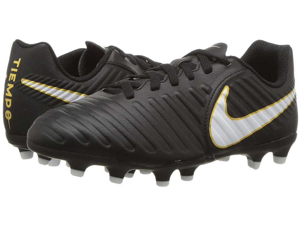Nike Kids Tiempo Rio IV Firm Ground Soccer Boot (Toddler/Little Kid/Big Kid) (Black/White/Black) Kids Shoes