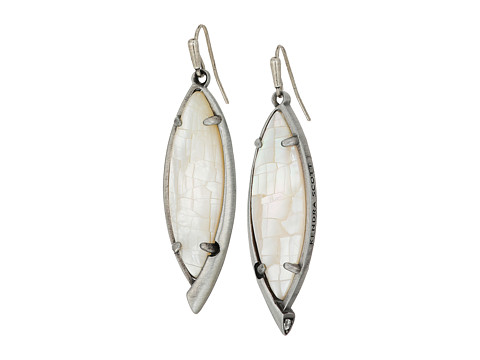 Kendra Scott Maxwell Earrings - Antique Silver/Crackle Ivory Mother Of Pearl/White CZ